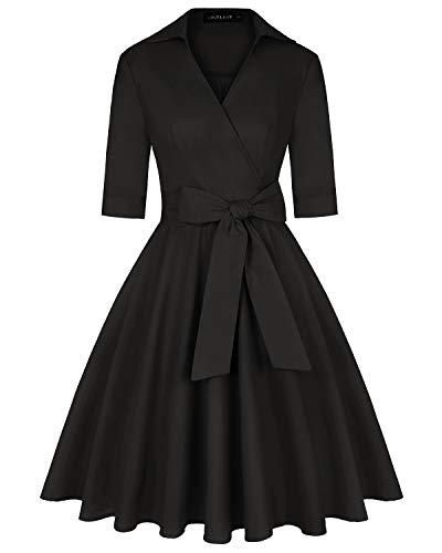 MINTLIMIT Retro Damen 50er Jahre Kleid Cocktailkleid Knielang Ausgestelltes Kleider Schwarz L