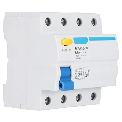 LANTRO JS - BL1E-63 63A 3P + N RCCB Disyuntor en miniatura, disyuntor de corriente de 230 V 30 mA, protección contra fugas, interruptor de aire, adecuado para decoración del hogar