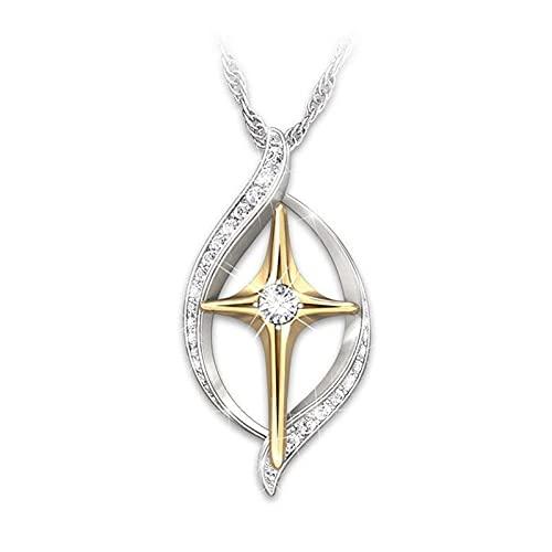 Kkoqmw Conjunto de Anillo de Collar con Colgante de Cruz de Metal con Diamantes de imitación Grabado