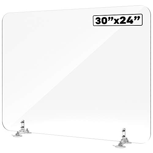 Shield Geek Sneeze Guard for Desk - Plexiglass Shield with Suction Cup Mount - Crystal Clear Acrylic Plexiglass Barrier - for Office Desk, Counters, and Restaurants
