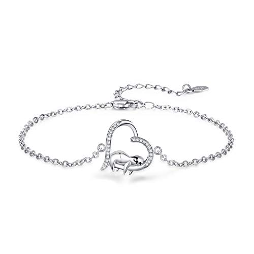 """Smile Sloth Bracelet for Girl Sloth Gift 925 Sterling Silver White Gold Plated Funny Unique Novelty Cute Animal Women Bracelet,Birthday Gifts For Her(7"""" + 2"""")"""