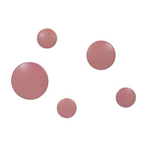 Vaukura Percheros de Pared Dots - Percheros de Madera (Rosa)