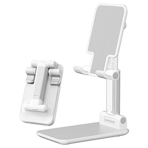 Cell Phone Stand, Fully Foldable, Adjustable Desktop Phone Holder Cradle Dock Compatible All Phones and Tablets (White)