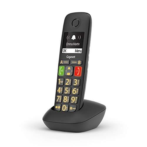 Gigaset E290HX Universal-Mobilteil – Schnurloses IP-Telefon (für Senioren zum Anschluss an Ihre Basisstation oder Router - mit sehr großen Tasten, extra laut Funktion, hörgerätekompatibel) schwarz