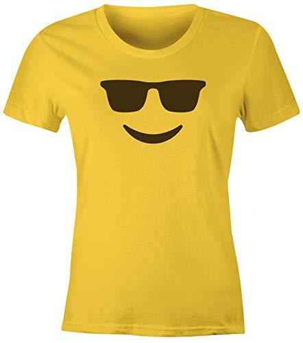 MoonWorks® Damen T-Shirt Emoticon Gruppenkostüm Fasching Karneval Junggesellenabschied JGA lustig Fun-Shirt Sonnenbrille gelb L