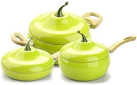 Poêles à frire Fruit Frying Pan Marmite Couleur Casserole en céramique Pan Pan Grill Cuisinière à gaz en aluminium Batterie de cuisine (Color : Tomato Soup Pot) Tomato Milk Pot