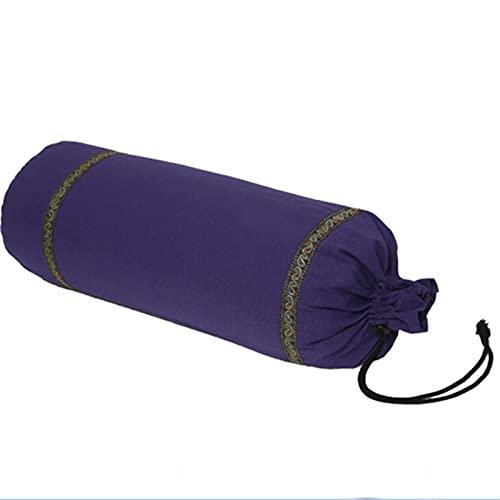 Rollo De Refuerzo De Yoga, Funda Extraíble Lavable De Algodón Orgánico, Almohada para El Cuello con Cojín De Apoyo para Pilates, 23 * 66 Cm,Púrpura