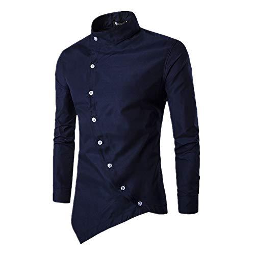 N\P Camisa de manga larga para hombre, asimétrica, con solapa oblicua