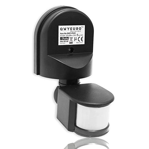 QWYEURO Interruptor detector de sensor de movimiento PIR ajustable 180 ° Máx.1200W/12M (Negro)
