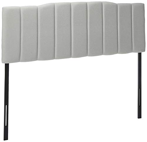 Zinus Satish Upholstered Channel Stitched Headboard in Light Grey, Queen