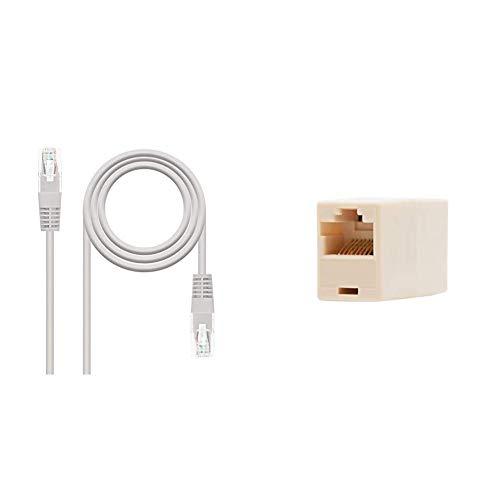 NanoCable 10.20.0130 - Cable de red Ethernet RJ45 Cat.5e UTP AWG24, Gris, latiguillo de 30mts + 10.21.0401-OEM - Empalme para cable de red Ethernet RJ45, Beige, hembra-hembra, Cat.5e, UTP [España]