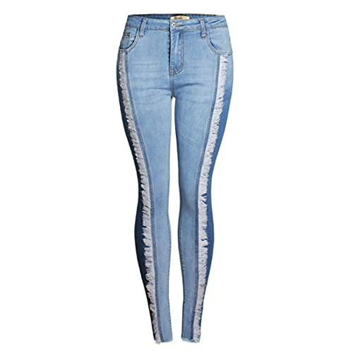 ZOSYNS Pantalones de mujer primaveral, cintura media, ajustados, informales, sexy, vintage, con flecos, tallas S-4XL azul XXL