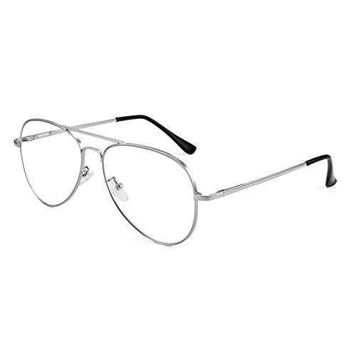 Miwaimao Gafas antideslóticas de Bloqueo de luz para Anti-Dolor de Cabeza y Ojos Colar Super Peso Ligero Retro Square Gaming Ordenador Leyendo Gafas Marco de aleación c2silver