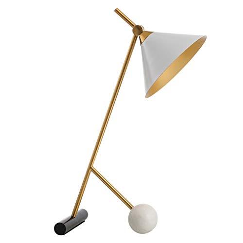 ZWMG Lámparas de Mesa Lámpara de Mesa, lámpara del Dormitorio del hogar de la lámpara de Estar Habitación con mármol esférico Base y Marco de Metal, 11.8x21.6 Pulgadas (Negro/Blanco) (Color : White)