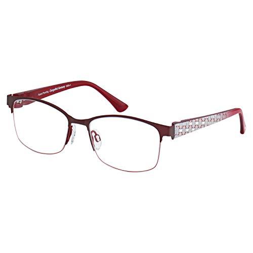 Change Me Brille rund 2486-1 mit Wechselbügel 8684-1 weinrit matt auf rot
