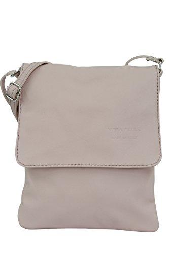 AMBRA Moda Italienische Ledertasche Schultertasche Crossover Umhängetasche Nappaleder Damen Kleine Tasche NL602 (Altrosa)