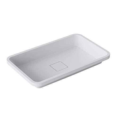 doporro lavabo empotrado/encastrado de mármol fundido Colossum104 blanco mate de 53cm de Ancho, rectangular, con tapa de drenaje, Sin grifo
