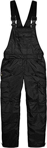 normani Winter Herren Thermo Latzhose, gefüttert, Wind- und wasserdicht, 6 Reißverschlusstaschen Farbe Schwarz Größe XL