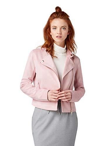 TOM TAILOR Denim Damen Kunstlederjacke im Wildlederlook Jacke, Rosa (Soft Pink 15616), M