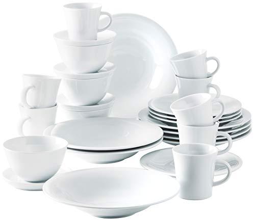 Kahla 320814A90032C Update Komplettset Porzellan Geschirr-Set 4 Personen Tafelservice modern 28 teilig Tassen Teller Schalen Suppenteller weiß