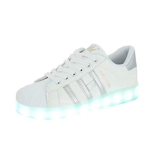 Unisex Kids LED Light up Shoes 7 Colors Flashing USB Charge White Lace-Up...