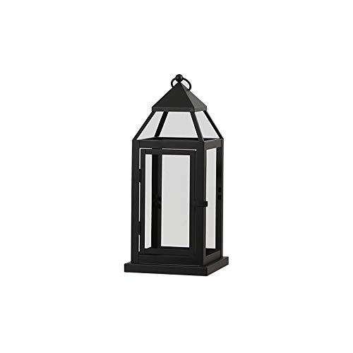 Style européen Noir Plancher Chandelier Jardin Coupe-Vent Sol Lanterne Grande Décoration Ouragan Lampe Avec Couverture En Verre Clair Pour La Scène De Mariage Terrasse (Taille : H:37)