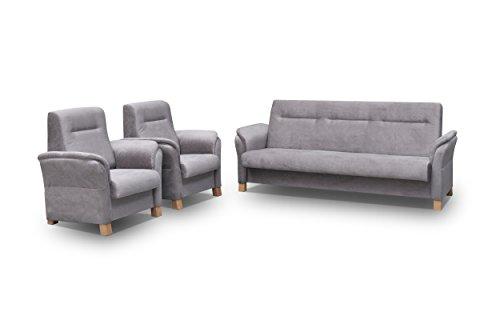 mb-moebel Polstergarnitur Sofa Set 3er Couch & 1er Wohnlandschaft 3-Sitzer und Zwei Sessel Möbel Set - Anna (Grau)