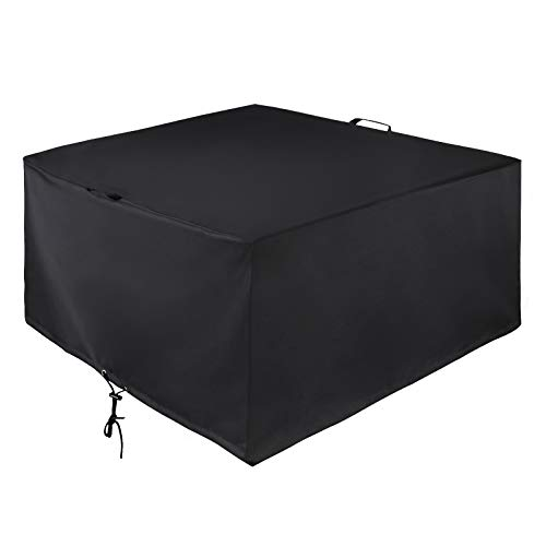 Unicook Square Fire Pit Cover 44 Inch, Heavy Duty Waterproof Patio Fire Table Cover, Outdoor Firepit Cover with Drawstring and Handles, Fade Resistant Material, All Weather Protection, Black