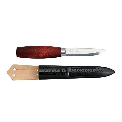 Morakniv Unisex-Adult Classic 1/0 mit 7,6 cm Carbonstahlklinge, rotbraunem Birkenholzgriff und Polymerscheide mit Lederschlaufe 13603, Mehrfarbig, Standard