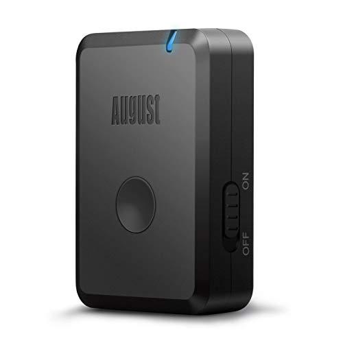August MR230B - Bluetooth v4.2 aptX Low Latency Audio Adapter / Empfänger für Hifi-Audiogeräte / Aktiv-Lautsprecher - Plug & Play Receiver- kabelloses Musikstreaming von jedem Bluetooth-Gerät auf Ihre Hifi-Anlage, Radio oder Lautsprecher - Schwarz