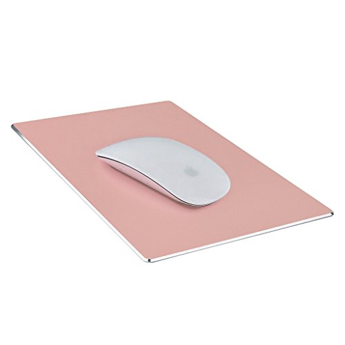 Mouse Pad,Qcute Gaming Aluminum Mouse Pad 9.45 X 7.87 Inch W Non-Slip Rubber Base & Micro Sand Blasting Aluminum Surface for Fast and Accurate Control (Large, Rose Gold)