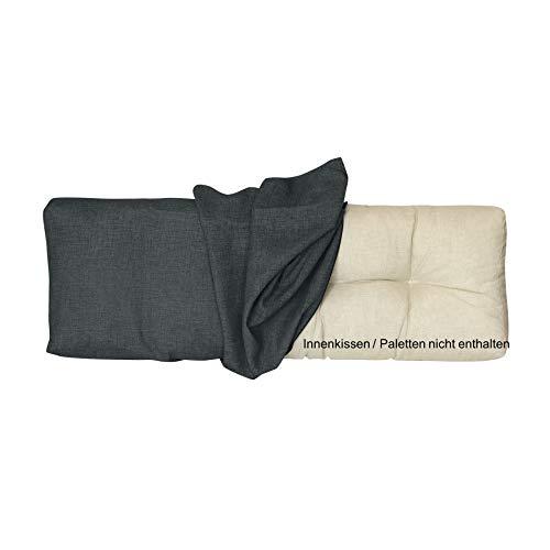 LILENO HOME Palettenkissen Bezug Anthrazit - Ersatzbezug für Rückenkissen 120 x 40 x 16-20 cm - Polster Bezug für Europaletten - Palettenkissen Outdoor Hülle für Palettenmöbel