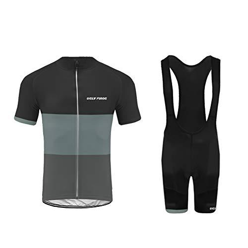 Uglyfrog Herren Radtrikot Set 20D Gepolsterte Trägerhose Sommer Atmungsaktiv Kurzarm Bike Shirts Fahrradanzug