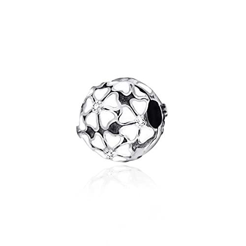 LIIHVYI Pandora Charms da Donna Argento Sterling 925 Beads Fiori Bianchi Ricoperti di Signora Compatibile con Braccialetti E Collane