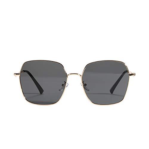 JINZUN Gafas de Sol con Lentes de Color, Caja Grande de Metal,Gafas de Sol Irregulares de Moda, Oro Anti-Ultravioleta de Moda Todo Gris