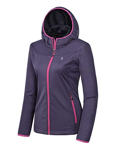 Little Donkey Andy Women's Lightweight Hooded Softshell Jacket for Running Travel Hiking, Windproof, Water Repellent Purple Size M