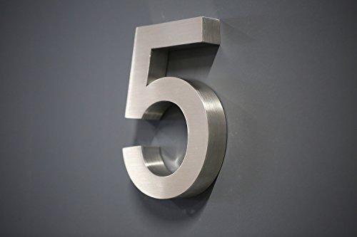 Lüllmann Hausnummer Premium Edelstahl in 3D Design Arial ALLE Zahlen H20cmxT3cm V2A TOP (Arial 20cmx3cm Nr.5)
