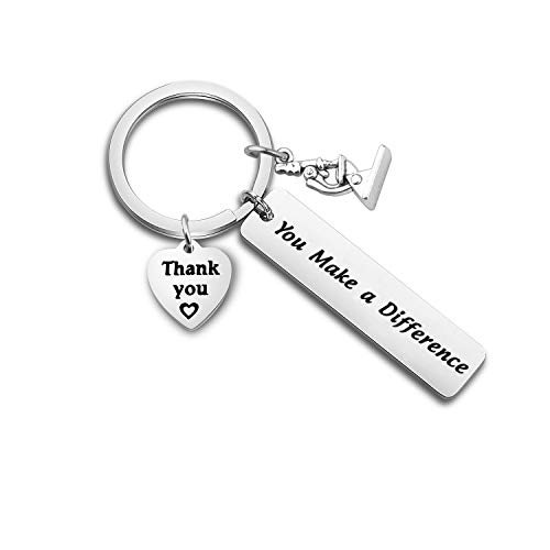 ENSIANTH Microscope Charms You Make A Difference Keychain Thank You Gift Appreciation Gift for Social Worker, Science Graduation (Microscope Charms Keychain)