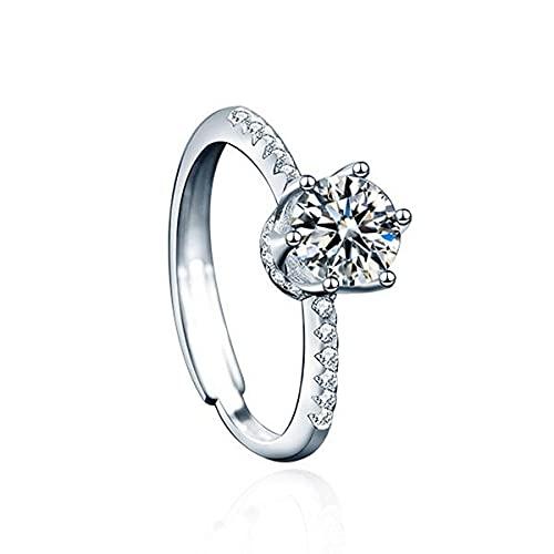 Braccialetto in argento Sterling S925 Moissan con diamante da ragazza 1 carati corona diamante anello moda personalità aperto regalo