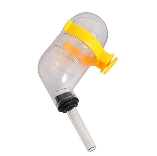 HJ ハムスター 給水器 小動物用 水漏れ防止 ガラス製ノイズ 静音 自動給水器 留守番対応 (10個セット, イエロー)