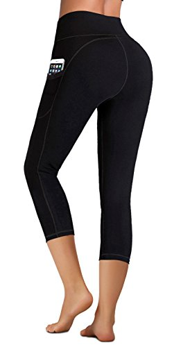 IUGA High Waist Yoga Pants with Pockets, Tummy Control, Workout Pants for Women 4 Way Stretch Yoga Leggings with Pockets (Capri 7881 Black, Medium)