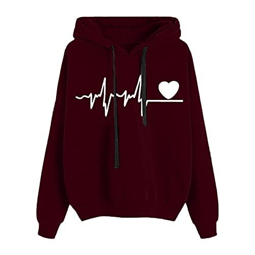 MEIPIQI Camiseta de manga larga con cuello redondo y cinturón impreso en forma de corazón para mujer., Vino, XL