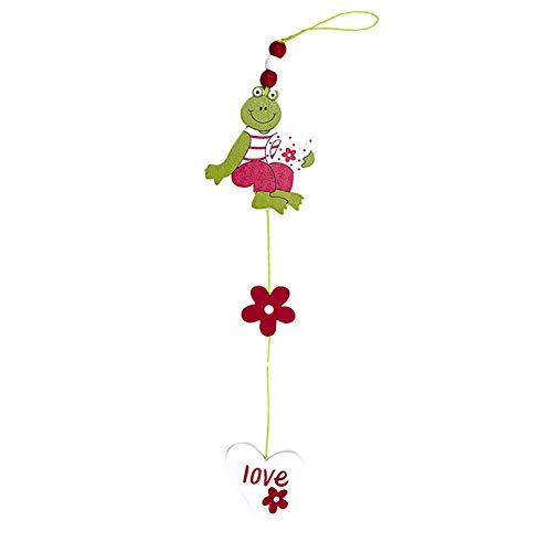 Drawihi Pâques Pendentif Grenouille en Bois Ornements De Pâques Artisanat Pâques Surprise d'art Decoratif Surprise Cadeau De Pâques Decoratif(Carthame + Amour)