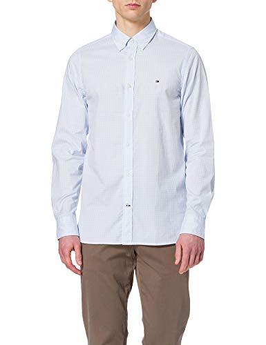 Photo of Tommy Hilfiger Men's Slim Natural Soft Gingham Shirt, Breezy Blue/White, M