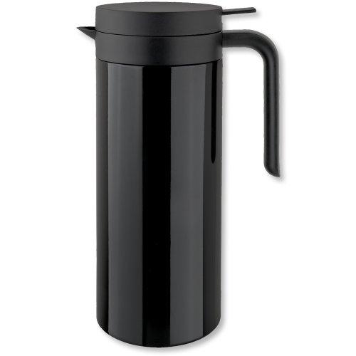 Isosteel Tableline VA-9336K Vakuum-Isolierkanne 1,0 L aus 18/8 Edelstahl schwarz beschichtet mit Quickstop-Einhandausgießsystem u. großer Einfüllöffnung