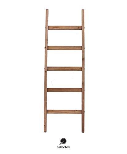 BALIBETOV Escalera Decorativa Rustica-Toallero y Sostenedor de Mantas-Decoración del baño y del Dormitorio-Estante de Secado de Ropa de Madera-Estante Blanco-Escalera Estantería (Marrón Oscuro, 122)