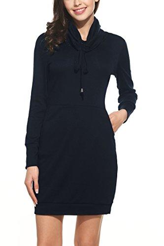 Zeagoo Herbst/Winter Damen Casual Kleid Strickkleid Rollkragen Langarm Mini Kleid Freizeitkleid Etuikleid Blau XL