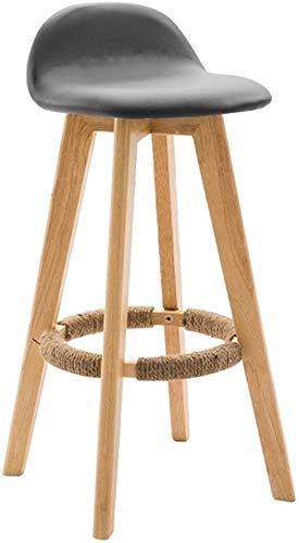 QTQZDD Donkergrijze linnen bekleding spons stoel barkruk stoel met rugleuning keukenbar cafe barkruk 4 houten poten (kleur: donkergrijs, maat: zithoogte: 63 cm) 2 2