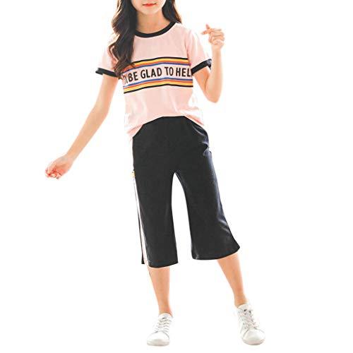 3-13 Años,SO-buts Adolescente Niños Niñas Verano Carta Arco Iris Chándal Tops Camiseta Pantalones Sueltos Chándal Trajes Deportivos Trajes (Rosado,9-11 años)