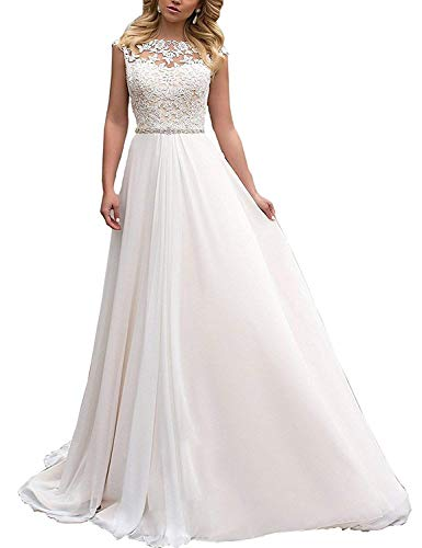 YASIOU Elegant Hochzeitskleid Damen Lang Hochzeitskleider Spitze Chiffon Brautmode Rückenfrei Weiß Vintage Spitze A Linie Brautkleid Abendkleider